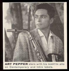1958 Art Pepper photo Martin alto saxophone vintage print ad