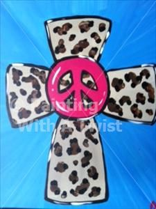 3rd Grade - Painting a cross, maybe give them an outline and a color scheme.    KIDS CLASS !!! Leopard Peace Cross - Hammond Painting Class - Painting with a Twist - Painting with a Twist
