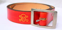 LEATHER BELT RED  handmade natural by BespokeLeatherCraft on Etsy, $45.00