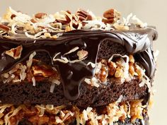 German Chocolate Cake With Coconut-Pecan Cajeta Frosting from Bobby Flay at Food Network