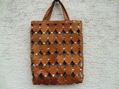 Vintage Ledertasche Nieten 70er Bag Beutel Tasche  von fluffy-robin auf DaWanda.com