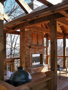 Covered Deck with Fireplace Found on blueridgemountains
