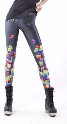 4ab23fdabd2 Tetris Print Leggings Pattern Leggings. Black LeggingsPrinted  LeggingsPrinted Yoga PantsGirls LeggingsLeggings FashionWomen s ...