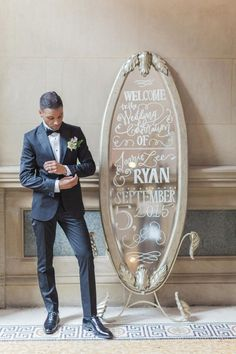 How to Style a Romantic Black and White Wedding   http://TheKnot.com // lettering by Virginia Lucas Hart