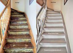Treppenrenovierung Arnstadt. Vinyl grau