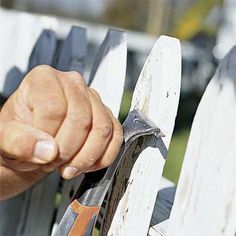 Remove badly rotted or damaged pickets, boards, or lattice, then scrub wood structures clean with a mix of 2 gallons water, 2 quarts bleach, and 1 cup liquid soap; let dry. Patch rotted sections with wood epoxy; install new wood as needed. Check wobbly fence posts to see if they need replacing. Scrape off old paint, then sand wood all over with 60 grit to prep for a new finish coat. Photo: Craig Raine     from Smart Spring Yard Cleanup