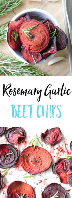 These Rosemary Garlic Beet Chips are a low fat and low calorie version to store-bough vegetable chips. They're delicious, nutritious, and super easy to make on busy weeknights. via @euphorianutr