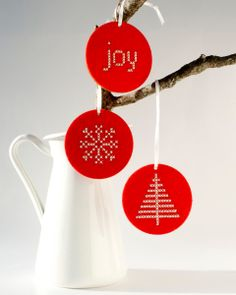 DIY Christmas Cross Stitch Kit - Ornament in Red Felt - Joy Pattern. $12.00, via Etsy.