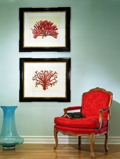 turquoise and red modern chic living room with coral prints by Errikos Artdesign