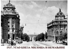 The corner of Kneza Miloša and Nemanjina streets in 1937 in Belgrade ~ Serbia