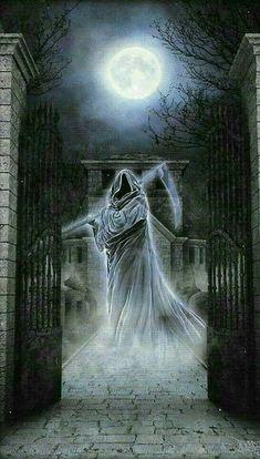 Fear the Reaper Death Reaper, Grim Reaper Art, Grim Reaper Tattoo, Don't Fear The Reaper, Dark Fantasy Art, Dark Art, Skull Artwork, Arte Obscura, Skull Wallpaper