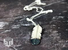 Magpie Feather Necklace Sterling Silver by Cherrytreeliverpool