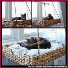 Dollar Store Crafter: DIY Hanging Window Basket Cat Perch #catsdiyclimbing #catsdiywindow