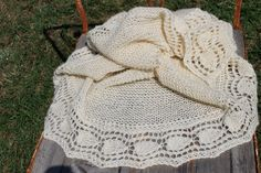 Hand knitted shawl with hand spun yarn natural color by FARMSPUN