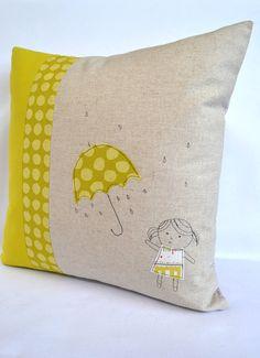 Umbrella Girl cushion, throw pillow, cushion cover , applique embroidery design. $45.00, via Etsy.
