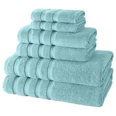 I really love the look of this plush towel set. I like how they are all the same, uniform color as well. My husband and I recently moved into our new home, so we'll have to consider some that look like this. Best Bath Towels, Bath Towel Sets, Bathroom Towels, Hand Towels, Teal Colors, Vibrant Colors, Turkish Cotton Towels, Luxury Towels, Decorative Towels