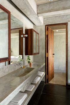 Architect Neils Schoenfelder on his modern weekend getaway just outside Puducherry Architectural Digest, Dream Bathrooms, White Bathrooms, Luxury Bathrooms, Master Bathrooms, Concrete Bathroom, Bathroom Faucets, Concrete Interiors, Bathroom Interior Design