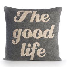 """THE GOOD LIFE – Recycling Felt Applique Kissen 16 """"x 16"""" - Weitere Farben erhältlich"""