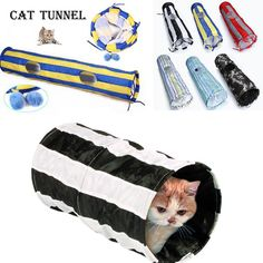 130cm Pet Cat Tunnel 2Hole Toy Collapsible Colorful Exercise Puppy Fun Pet Agility Train Tunnel