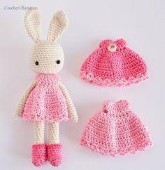 #crochet, free pattern, amigurumi, bunny girl with dress, Easter, stuffed toy, #haken, gratis patroon (Engels), meisjes konijn met jurk, knuffel, speelgoed, #haakpatroon