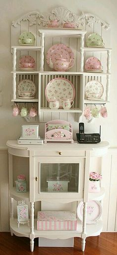Shabby Shelf and Cabinet...  Pinner says: Maybe I could have a little corner for my teacups.  They shouldn't be hidden.