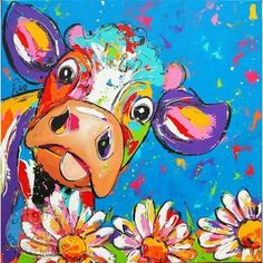Cow paintings Cow Paintings On Canvas, Happy Paintings, Animal Paintings, Canvas Art, Farm Paintings, Diy Painting, Painting & Drawing, Cow Pictures, Farm Art