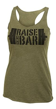 Jumpbox Fitness Raise The Bar - Big Stencil - Women's Barbell Military Green Tri Blend Racerback Workout Tank Top Athletic Women, Athletic Tank Tops, Workout Tank Tops, Workout Gear, Clothing Consignment Shops, College Hoodies, Best Friend Shirts, Altering Clothes