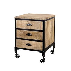 Add this hand-crafted three drawer chest to your room for a natural style and convenient storage space. The natural wood is complemented with a black steel frame mounted on rollers for easy movement. The interior has smooth drawer glides. Bedroom Furniture Stores, Furniture Deals, Modern Furniture, Loft Furniture, 3 Drawer Nightstand, Nightstands, Wood Chest, Urban Loft, Dressing