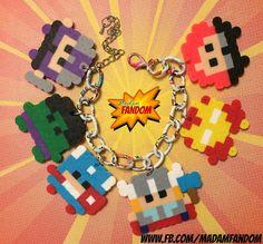 Avengers Charm Bracelet (Perler Beads) by MadamFandom - www.fb.com/MadamFandom