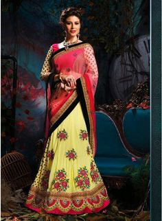 Gleaming Pink, Red & Pale Yellow Embroidered #Saree