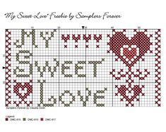 Cross Stitch Charts, Love Is Sweet, Cross Stitch Patterns, Punch Needle Patterns