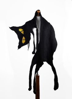 Felted Scarf Cat Scarf Art Shawl Nuno felt Artistic Scarves Felt  Fairy Wrap black multicolor Nuno felt wearable art Silk  Fiber Art. $159.00, via Etsy.