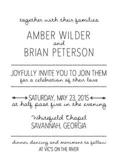 Invitación de boda rústica mano Letras imprimibles por JubeeleeArt