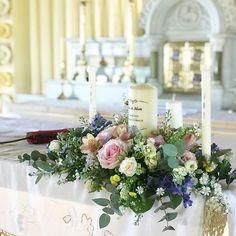 #altarflowers #candlearrangement #unitycandle #weddingflowers #ceremonyflowers #irishwedding #bloomsdayflowers
