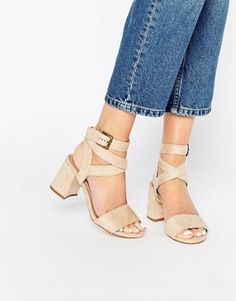 Truffle Collection Wrap Around Ankle Strap Mid Heel Sandal