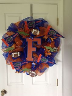 My Gator Wreath for my office.....Go Gators!