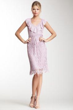 Ruffle V-Neck Crochet Dress