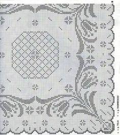 Kira scheme crochet: Scheme crochet no. Crochet Edging Patterns, Filet Crochet Charts, Crochet Motif, Crochet Designs, Crochet Doilies, Cross Stitch Patterns, Crochet Flower, Crochet Curtains, Crochet Quilt