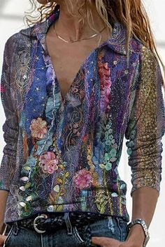INS8 Trend Fashion, Look Fashion, Fashion Outfits, Womens Fashion, Floral Fashion, Collar Blouse, Cool Outfits, Classy Outfits, Long Sleeve Shirts