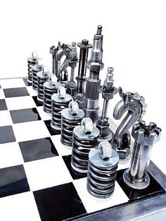 Vintage chrome chess set.