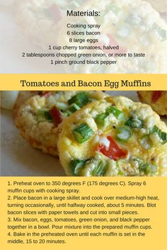 Looking for a delicious breakfast option? This tomatoes and bacon egg muffin recipe is perfect for a great start to your day!