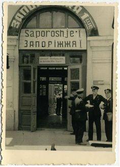 Ukraine, Zaporizhia. Nazi occupation of city, railway station.