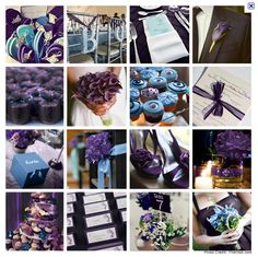 Some cute purple and blue wedding ideas. Make it teal, and it'd be perfect!