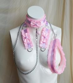 Kitten play collar leash and cuffs set  Pink love  bdsm
