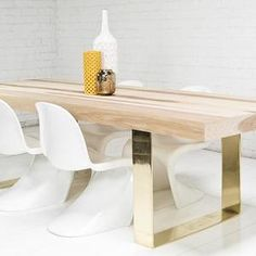 Fat Brass U-Leg Hickory Dining Table I roomservicestore