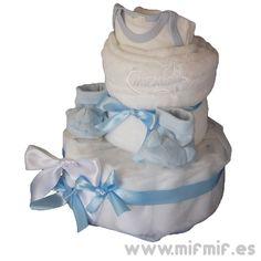 "Tarta de Pañales ""Boy Cream Cake"" disponible en http://www.mifmif.es"