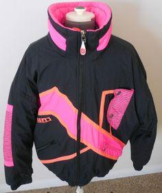 Vtg Men's Head Ski Jacket Sz L Retro Neon Pink Orange Black Quallofil Insulation #Head