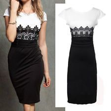 Hot Women's Black & White Celeb Cap Sleeve Day Evening Party Cocktail Dress XL