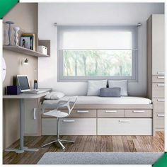 Great Ideas for Small Spaces : FixUpable Small Room Decor, Small Room Bedroom, Small Rooms, Small Spaces, Bedroom Decor, Small Bedroom Designs, Single Bedroom, Condo Living, Home Office Design