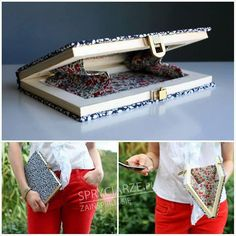 Recycling a book into a clutch Book Clutch, Diy Clutch, Wood Crafts, Paper Crafts, Diy Crafts, Craft Tutorials, Craft Projects, Mod Podge Fabric, Paint Stirrers